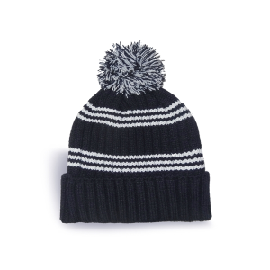 Rib Knit Tuque with Stripes, Cuff and Pom Pom